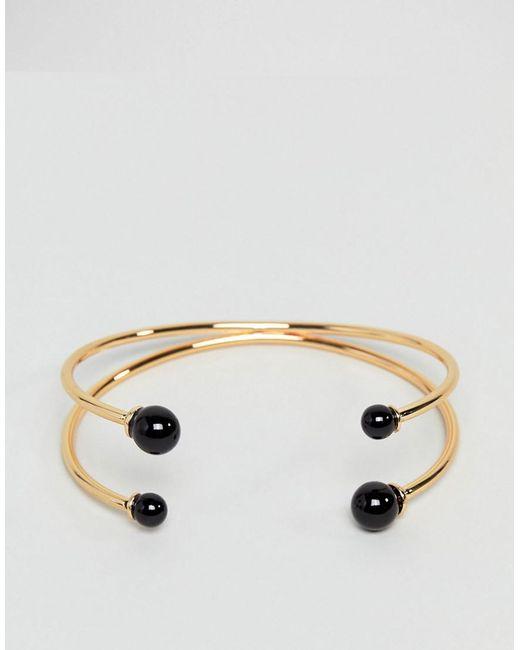 ASOS | Metallic Ball End Cuff Bracelet | Lyst