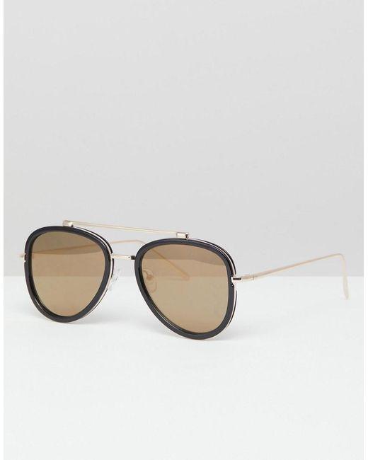 b4e107cb90 ASOS - Black Gafas de sol estilo aviador en negro con lentes flash ahumadas  de for ...