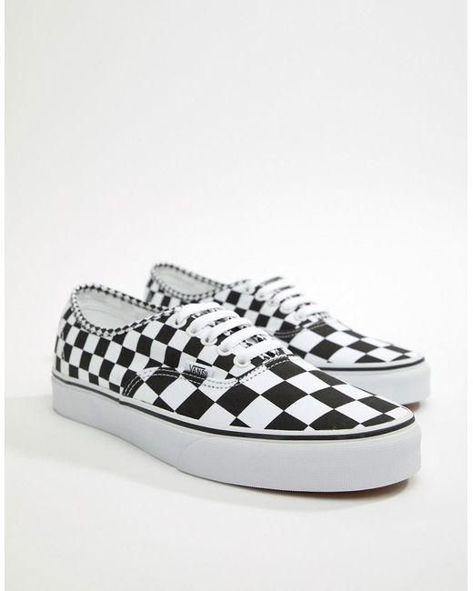 fe492a53c5c4a Vans - Authentic Checkerboard Plimsolls In Black Va38emq9b for Men - Lyst  ...