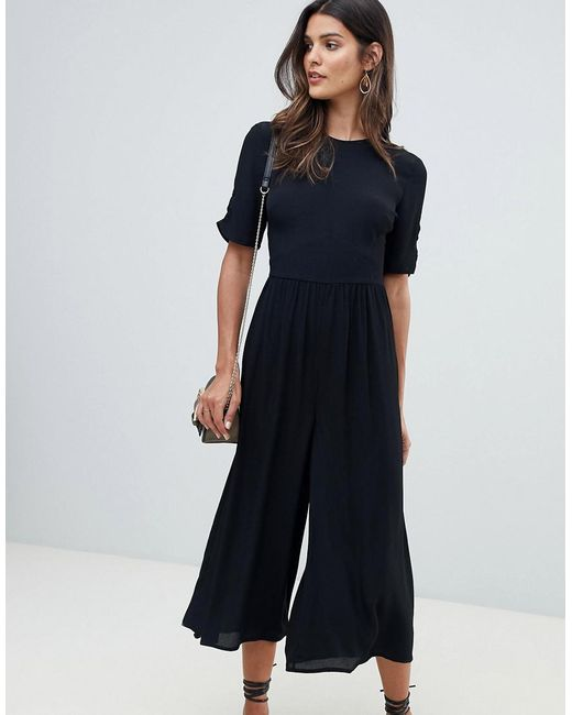 ASOS - Black Tea Jumpsuit With Ruched Sleeve Detail - Lyst