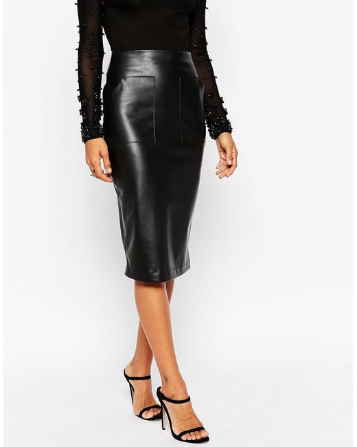 asos pu pencil skirt with pocket detail in black lyst