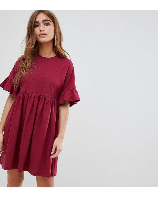 8c67ad9c452 ASOS - Red Asos Design Petite Cotton Slubby Frill Sleeve Smock Dress - Lyst  ...
