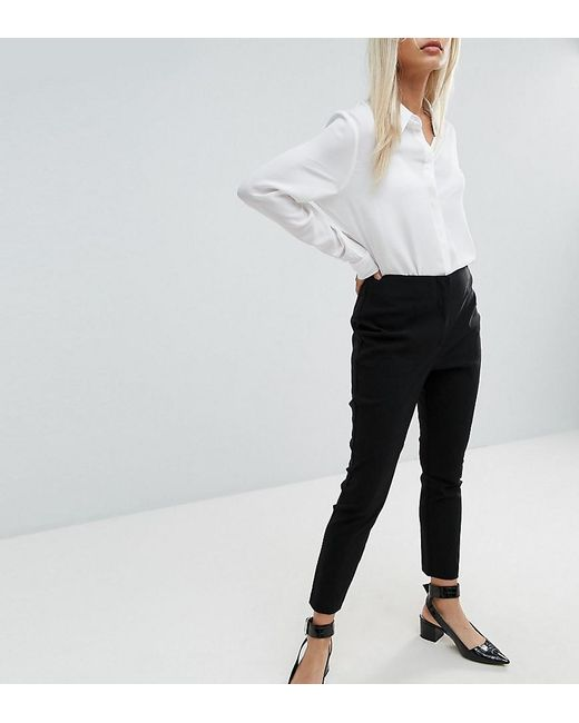 f1065401603 ASOS - Black Asos Design Petite High Waist Trousers In Skinny Fit - Lyst ...