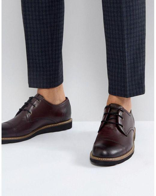 Original Penguin - Red Plus Toe Cap Derby Shoes for Men - Lyst