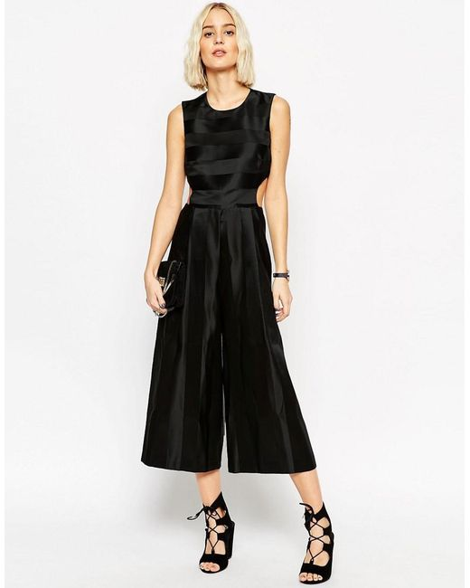 ASOS | Black Premium Jumpsuit With Satin Stripe And Cut Out Detail | Lyst