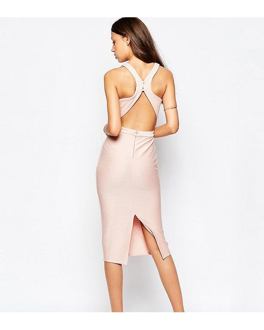 ASOS | Pink Bandage Midi Dress With Open Back | Lyst