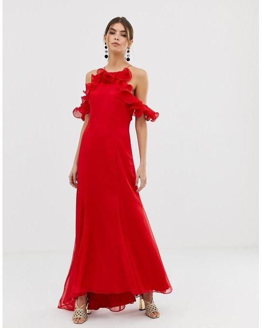 db145607aef Keepsake - Red Embrace Ruffle Gown - Lyst ...