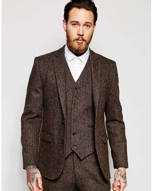 Asos Slim Suit Jacket In Brown Harris Tweed 100% Wool in Brown for