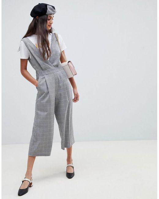 Miss Selfridge - Gray Jumpsuit In Grey Check - Lyst