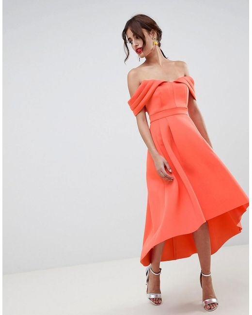 624fd1240a ASOS - Pink Bardot Cold Shoulder Dip Back Midi Prom Dress - Lyst ...