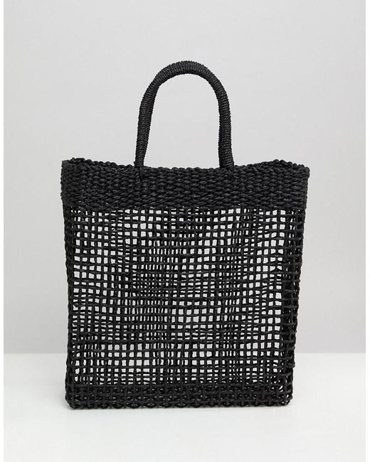 South Beach - Black Woven Straw Shopper Bag - Lyst