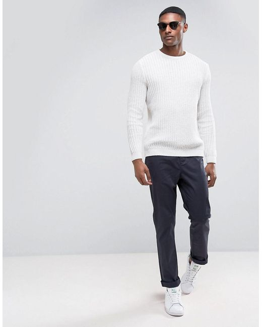 ... ASOS - Natural Tall Textured Sweater In Cream for Men - Lyst