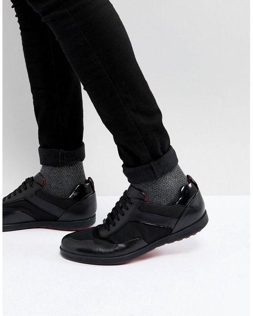 HUGO | Flat Lowp Mix Media Sneakers In Black for Men | Lyst
