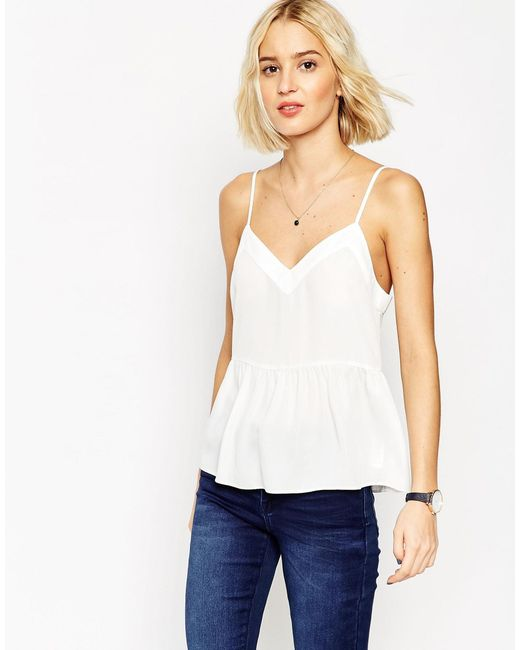 ASOS | White Soft Gathered Pretty Cami Top - Ivory | Lyst