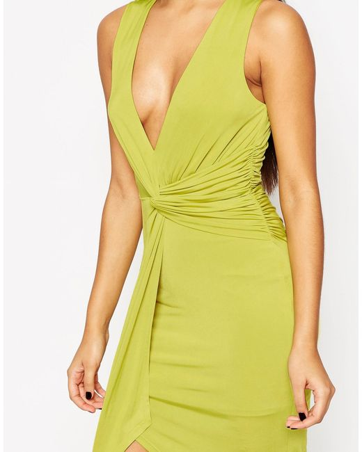 Asos Deep Plunge Twist Midi Dress In Green Lyst