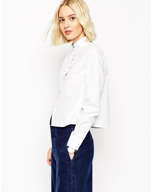 ASOS | White Frill Neck Shirt With Frill Placket | Lyst