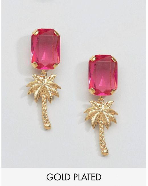 Gogo Philip | Pink Gold Plated Palm Tree Gem Earrings | Lyst