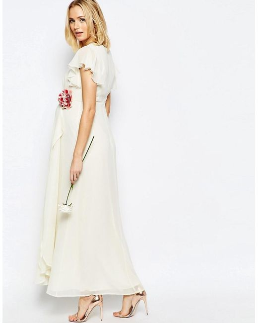 Asos Maternity Wedding Wrap Maxi Dress With Corsage Detail In Natural Lyst