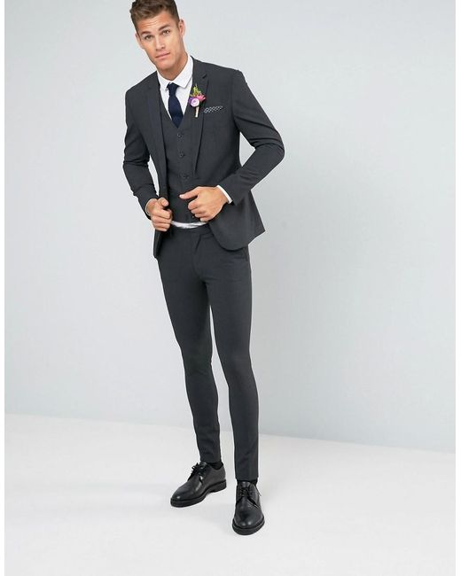 Asos Wedding Super Skinny Suit Jacket In Charcoal in Gray for Men ...