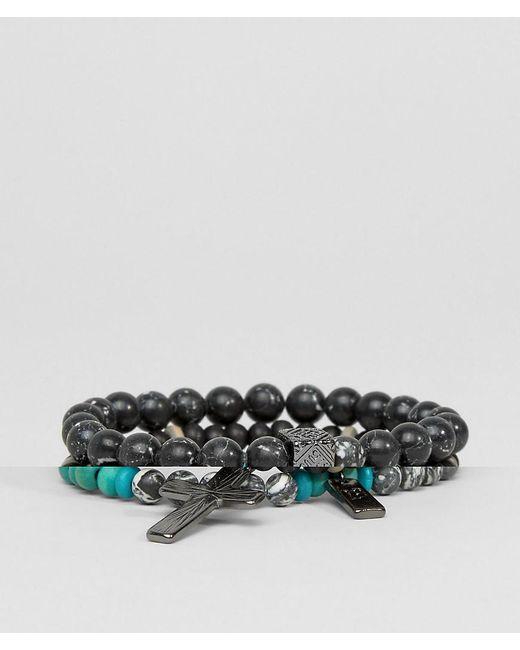 Icon Brand - Multicolor Cross Beaded Bracelet Pack for Men - Lyst