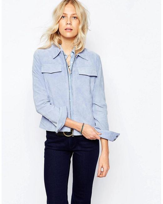 Pepe Jeans | Blue Suede Zip Up Jacket | Lyst