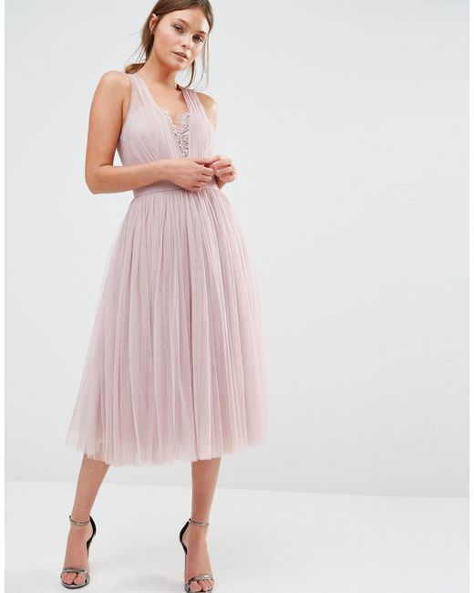 embellished midi dress with tulle skirt in