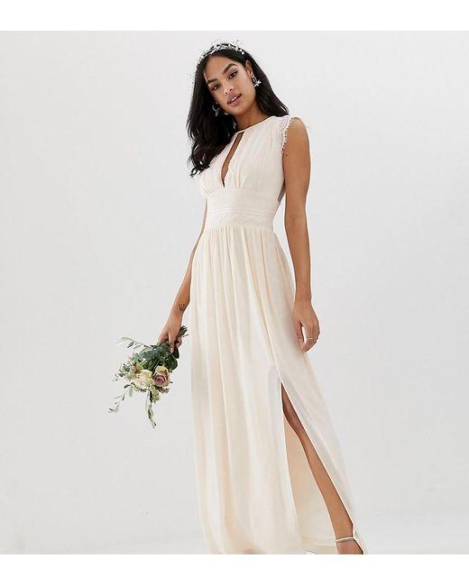 bded2d90efd6 TFNC London - Pink Lace Detail Maxi Bridesmaid Dress - Lyst ...