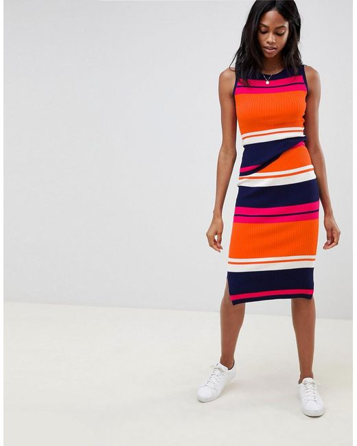 Oasis - Multicolor Color Block Knitted Skirt - Lyst