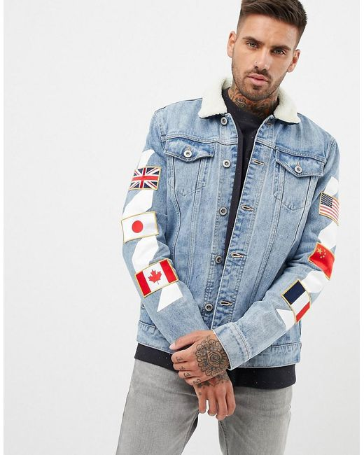 2d3b975ebbab Kings Will Dream - Blue Denim Jacket With Badges for Men - Lyst ...
