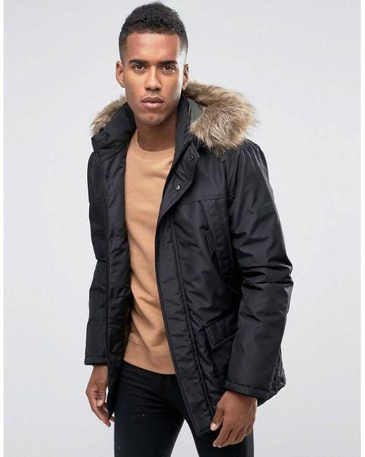 Jack & Jones | Black Parka With Faux Fur Hood for Men | Lyst