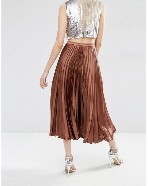 asos midi skirt in pleated satin in brown chocolate lyst