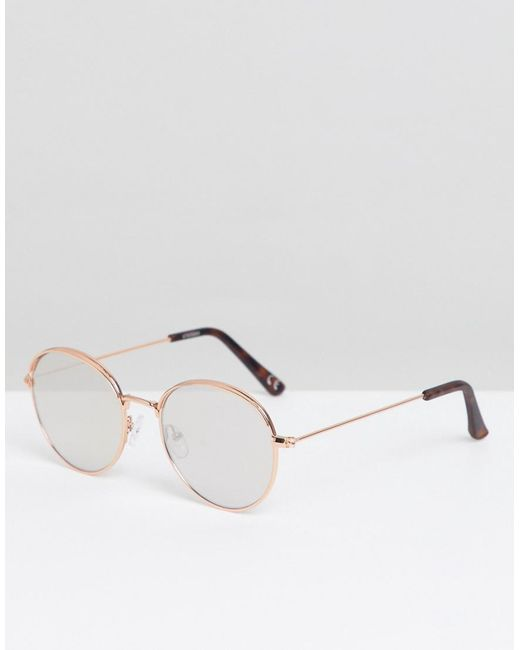 c4c43fdb5b6 ASOS - Metallic Round Sunglasses In Rose Gold With Cap Detail   Silver  Mirrored Lens for ...