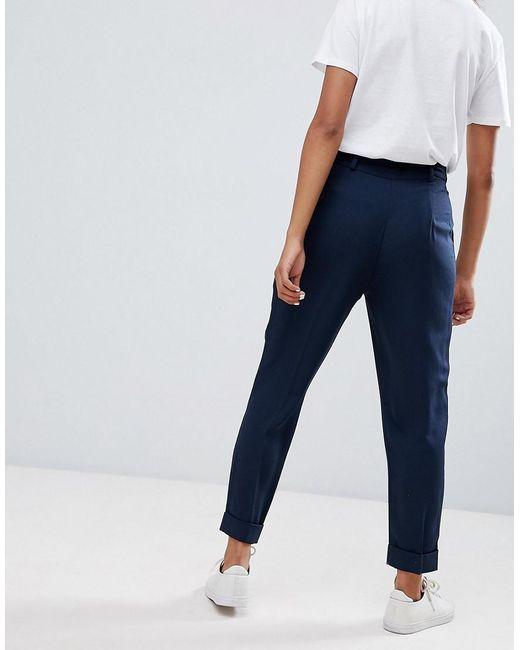 a943acda9b97e ... ASOS - Blue Asos Design Petite Woven Peg Trousers With Obi Tie - Lyst