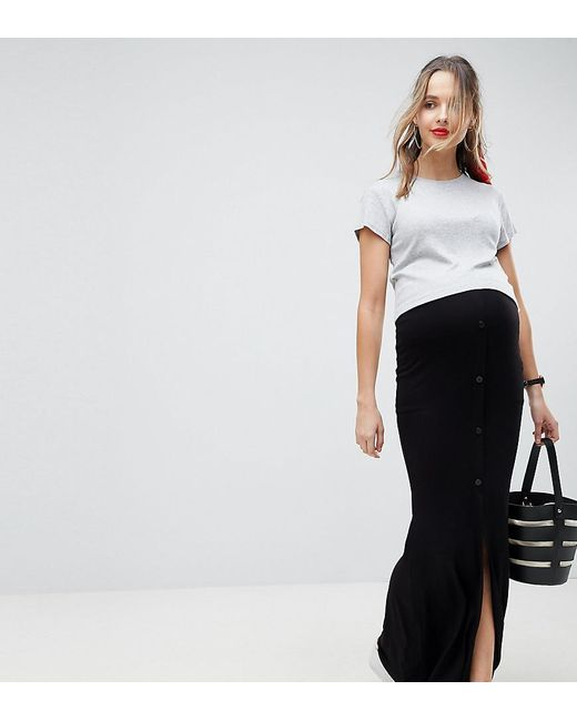 d49c8eece2f5b ASOS - Black Asos Design Maternity Maxi Skirt With Button Front And Split  Detail - Lyst ...