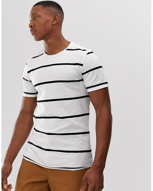 28dcaad8d51f Jack & Jones - White Premium Crew Neck T-shirt In Raw Hem Stripe for ...