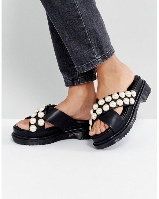 Asos Face Value Pearl Chunky Flat Sandals in Black