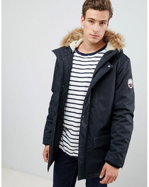 d812ed0a437f4 Threadbare - Blue Parka Coat With Faux Fur Trim Hood for Men - Lyst ...