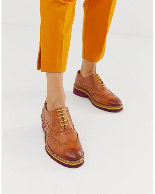 9b0061a3329 ASOS - Brown Zapatos Oxford en color tostado con acabado en cuero Misse de  - Lyst ...