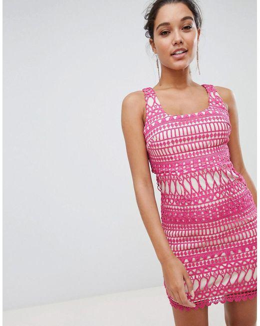 Love Triangle - Pink Stripe Detail Lace Midi Dress - Lyst