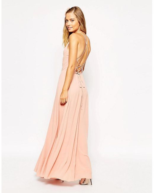 ASOS - Pink Maxi Dress With Tie Back - Lyst