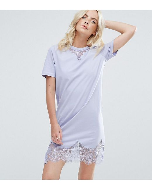 ASOS | Blue T-shirt Dress With Lace Inserts | Lyst