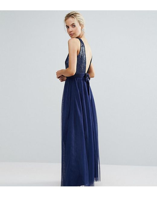 Lyst - Little Mistress Allover Sequin Bow Back Tulle Prom Maxi Dress ...