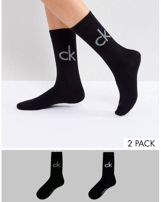 Calvin Klein - Black 2 Pack Retro Logo Crew Socks - Lyst