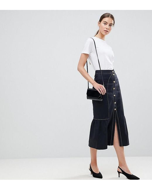 ASOS - Blue Midi Skirt With Buttons And Contrast Stitching - Lyst