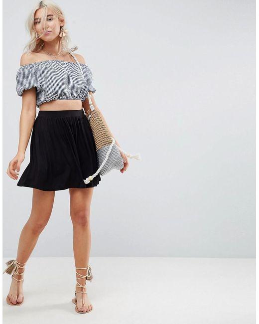 4b874971769f2a ASOS - Black Mini Skater Skirt - Lyst ...
