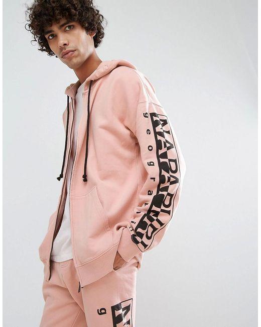 Napapijri | Badstow Zip-thru Hoodie In Pink for Men | Lyst