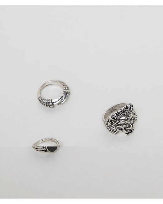 ASOS - Metallic Ring Pack With Lion In Burnished Silver for Men - Lyst