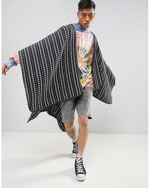 ASOS | Blue Festival Cape In Woven Design for Men | Lyst