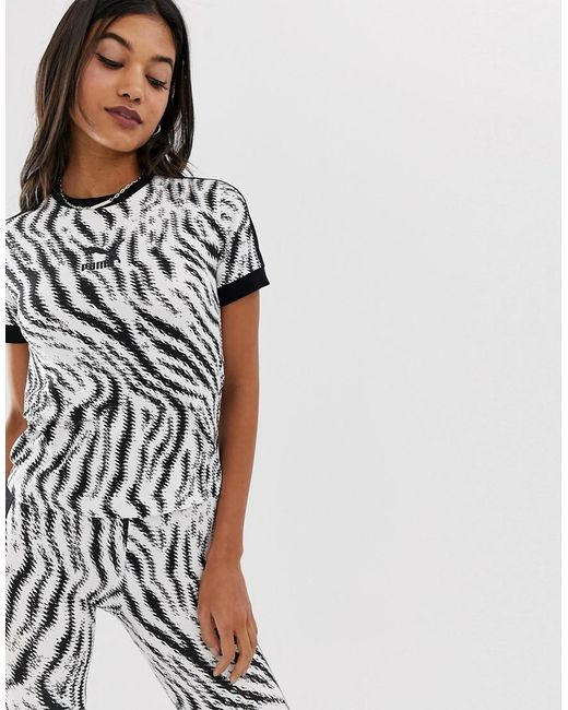 b8081517d2aa PUMA - Multicolor Zebra Print Tight T-shirt - Lyst ...