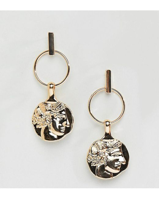Reclaimed (vintage) - Metallic Inspired Gold Coin Earrings - Lyst